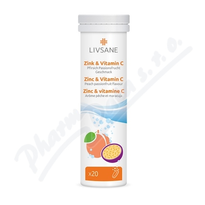 LIVSANE Šumivé tablety Zinek + Vitamin C 20ks