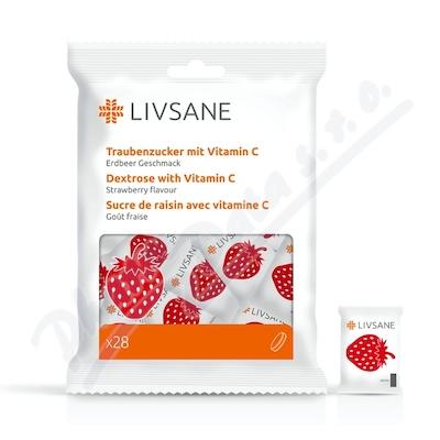 LIVSANE Hroznový cukr + Vitamin C jahoda 28 ks