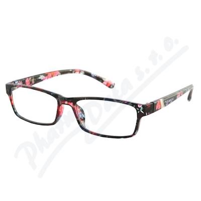 Brýle čtecí +2.00 UV400 černo-květinové