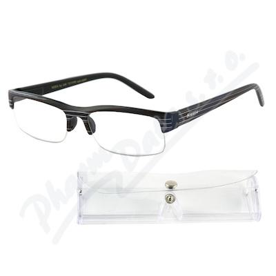 Brýle čtecí +2.50 UV400 černé s pruhy a pouzdrem
