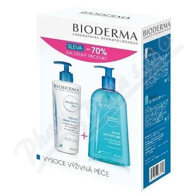 BIODERMA Atoderm krém 500ml + sprchový gel 500ml