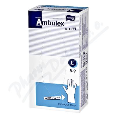 Ambulex Nitryl rukavice nepudr.white long L 100ks