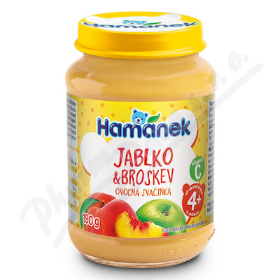 Hamánek Jablko+broskev ovocná svačinka 190g 4m+
