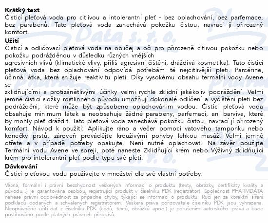 AVENE Čisticí voda pro intolerant.pleť (LPI) 200ml