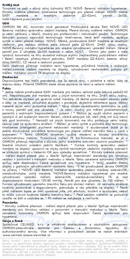 Tonometr OMRON M6 AC +zdroj +5 let záruka(CELIMED)