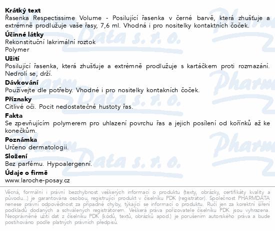 LA ROCHE-POSAY Respectissime Volume řasenka 8.4 ml
