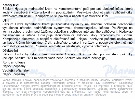 BIODERMA Sébium Hydra - hydratační krém 40ml