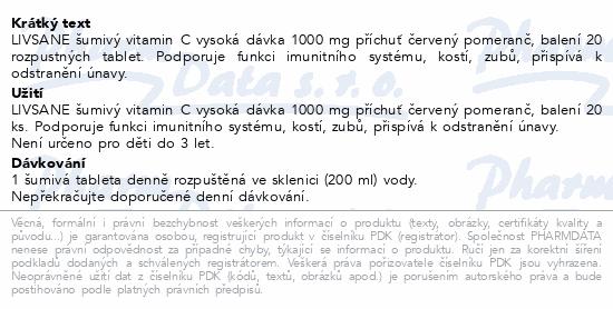 LIVSANE Šumivé tablety Vitamin C 1000mg 20ks