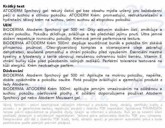 BIODERMA Atoderm krém 500ml + sprchový gel 500ml