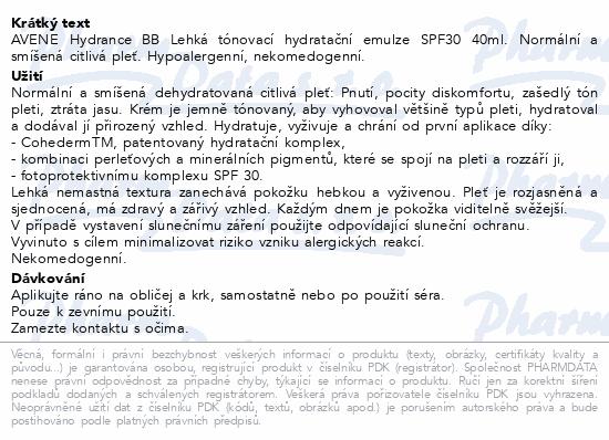 AVENE Hydrance BB Lehká hydr.tón.emulze SPF30 40ml