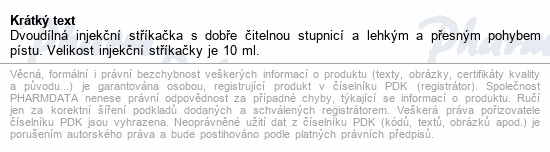 BD Discardit 2dílná Inj. stříkačka 10ml 100ks