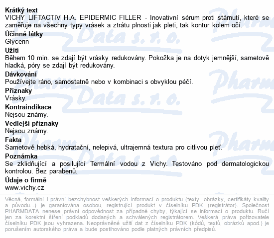 VICHY LIFTACTIV H.A. epidermic filler sérum 30ml